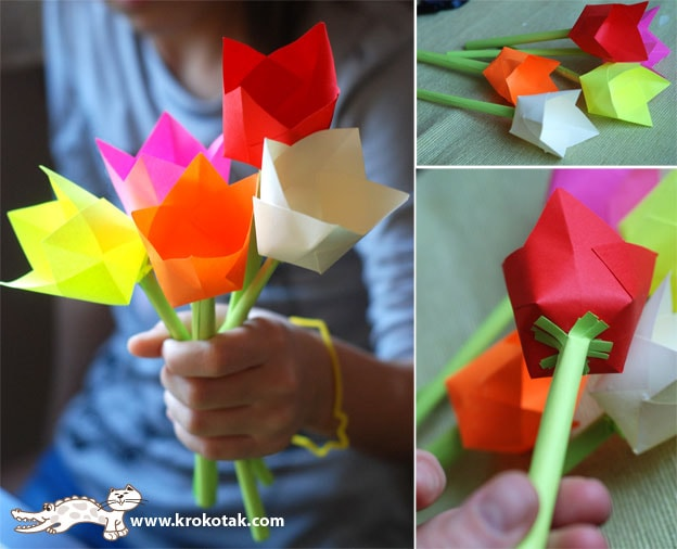 craft paper tulips - arts and crafts for kids