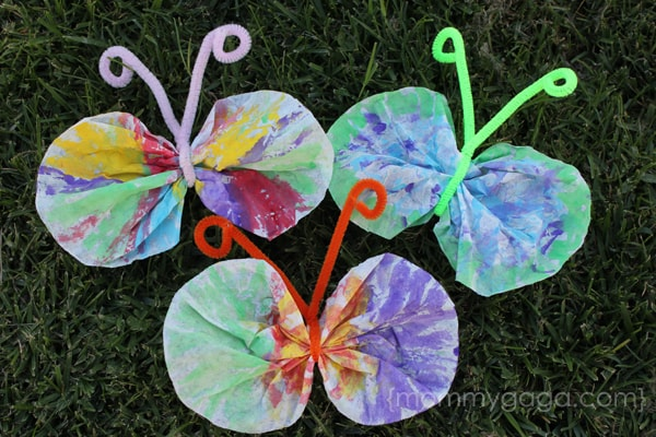 Painted coffee-filter butterflies - arts and crafts for kids