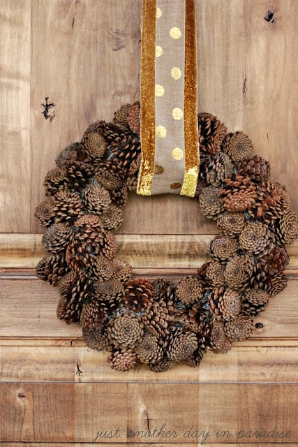 Pine Cone Wreath with Gold