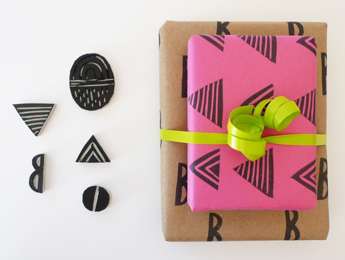 hand-stamped-gift-wrap