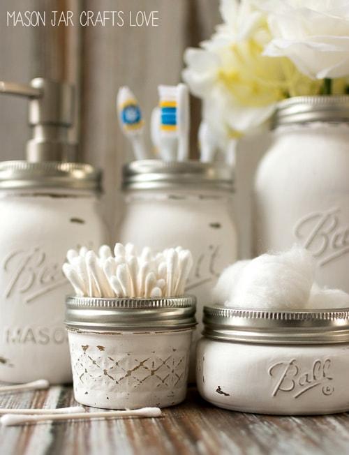 DIY Mason Jar Ideas - Bathroom Storage