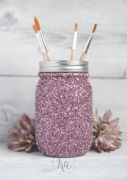 DIY Mason Jar Ideas - Glitter Holder