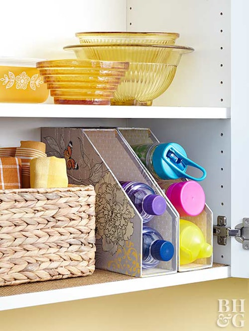 Kitchen Organization Ideas - Water Bottle Storage