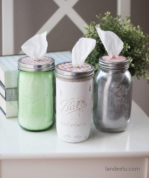 DIY Mason Jar Ideas - Tissue Holder