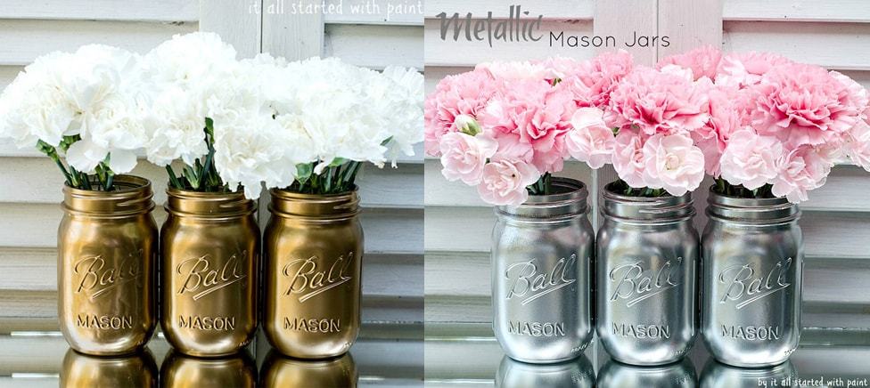 DIY Mason Jar Ideas - Metallic Vases