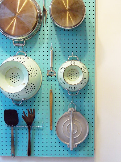 Kitchen Organization Ideas - Pegboard Wall Organizer