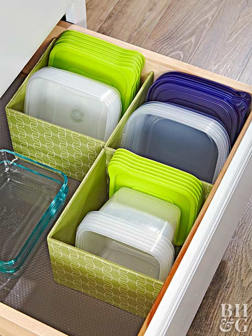 Kitchen Organization Ideas - Book Bin Tupperware Organization