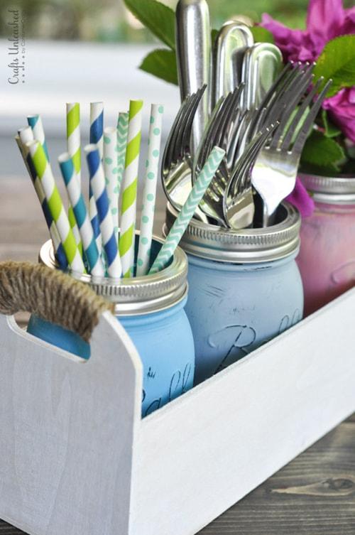 DIY Mason Jar Ideas - Utensil Caddy