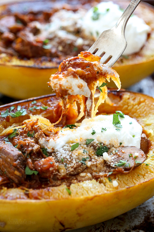 Low Carb Diet Recipes - Beef And Mushroom Spaghetti Squash