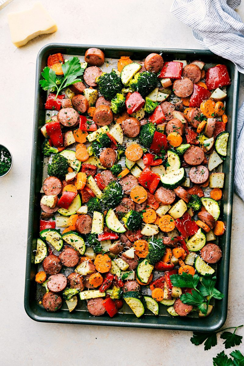 Low Carb Diet Recipes - One Pan Italian Sausage and Vegetables