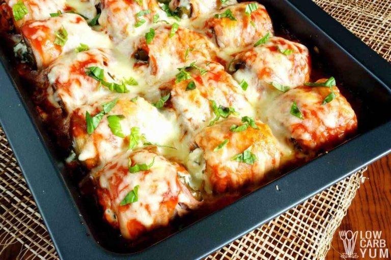 Low Carb Diet Recipes - Stuffed Eggplant Rolls
