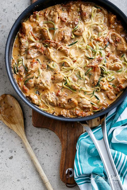 Low Carb Diet Recipes - Parmesan Chicken Zucchini Noodles