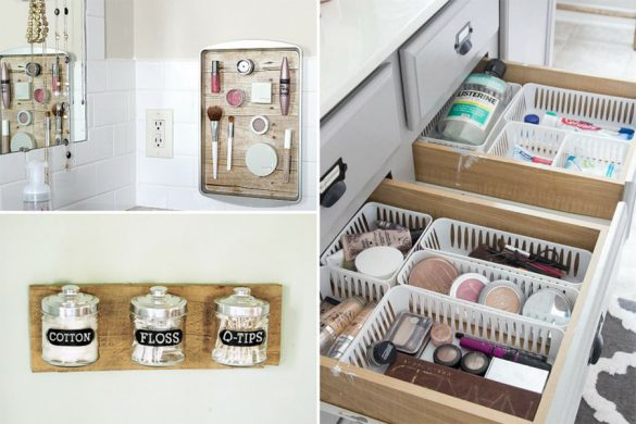 Collage of bathroom organization ideas