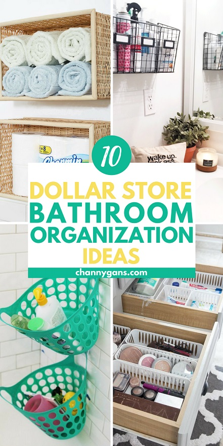 pin collage image for bathroom organization ideas