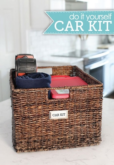 Wicker basket filled with essential car items