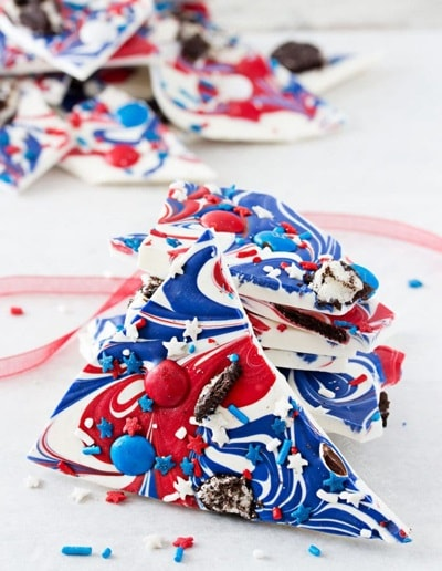 4th of July Desserts - Red, White, and Blue Bark