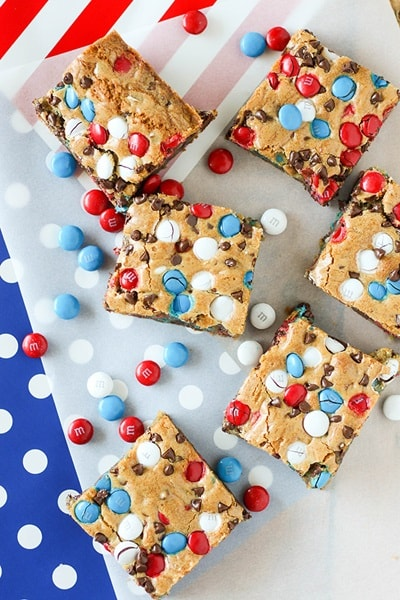 4th of July Desserts - Red, White and Blue Cookie Bars