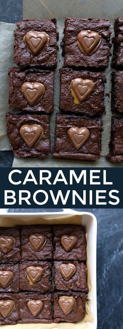 45 Valentinstag Desserts: Karamell Brownies