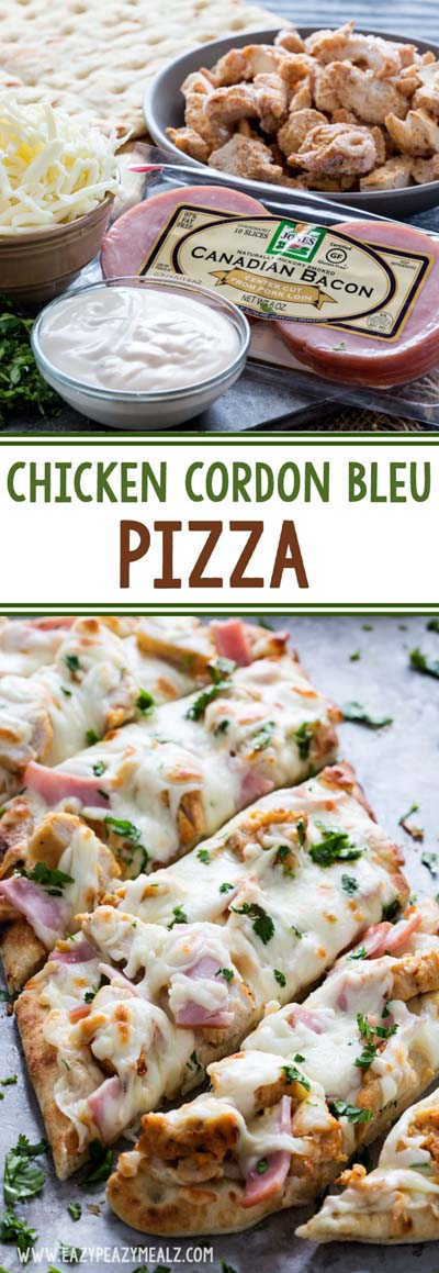 35 Homemade Pizza Recipes: Chicken Cordon Bleu Pizza