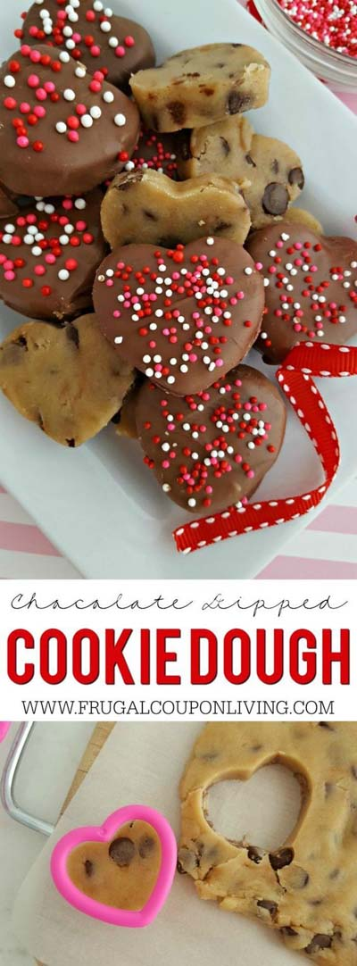 45 Valentines Desserts: Chocolate Dipped Cookie Dough Hearts