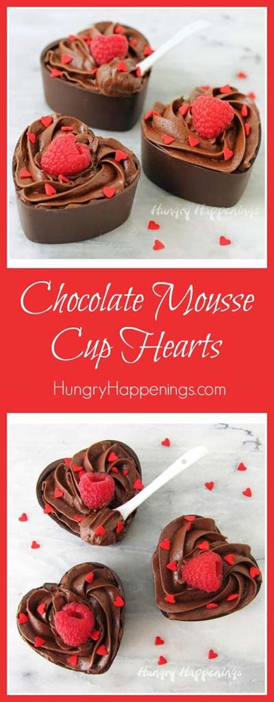 45 Valentines Desserts: Chocolate Mousse Cup Hearts