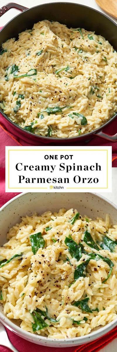 25 Pasta Recipes: Creamy Spinach Parmesan Orzo
