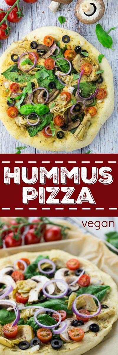 35 Homemade Pizza Recipes: Hummus Pizza With Veggies