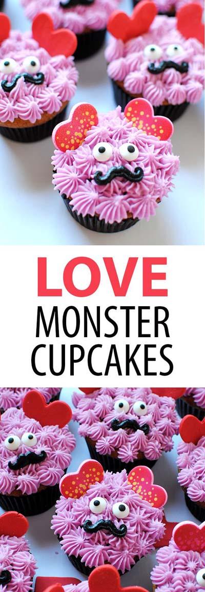 45 Valentinstag Desserts: Liebe Monster Cupcakes