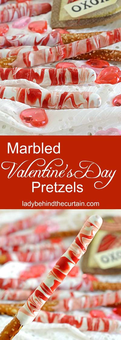 45 Valentinstag Desserts: Marmorierte Valentinstag Brezeln