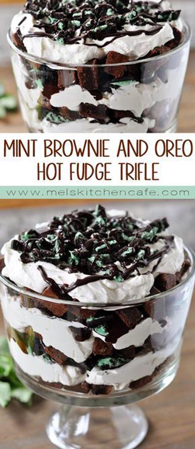 30 Christmas Trifle Recipes: Mint Brownie And Oreo Hot Fudge Trifle