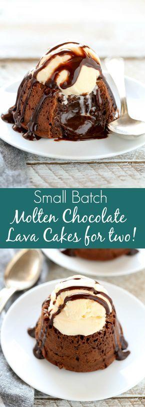 45 Valentines Desserts: Geschmolzene Schokoladen-Lava-Kuchen