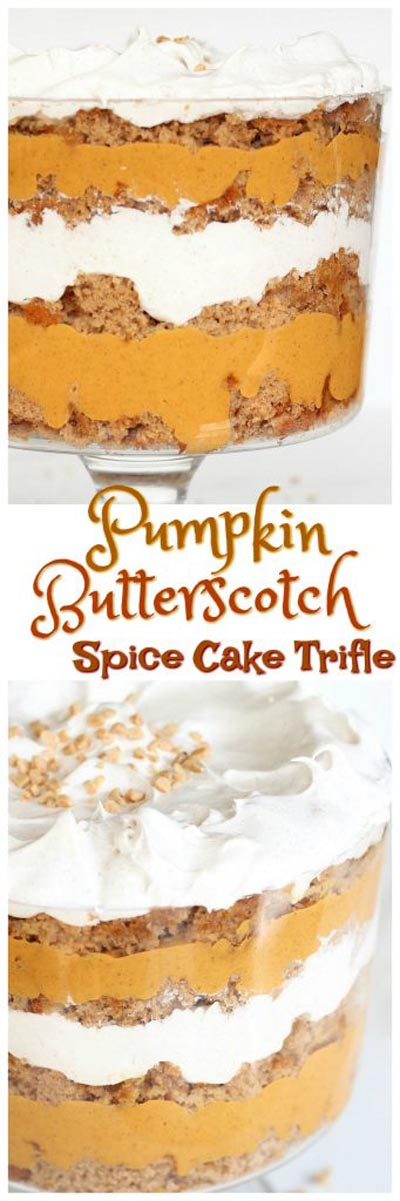 30 Christmas Trifle Recipes: Pumpkin Butterscotch Spice Cake Trifle