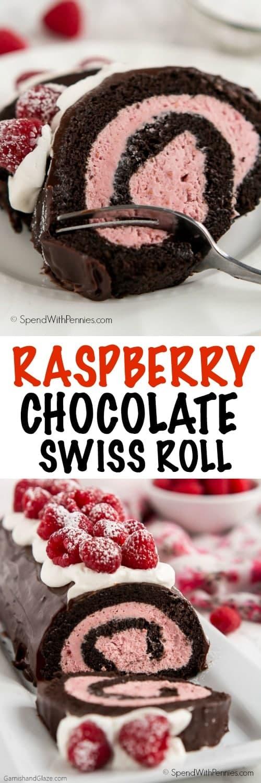 45 Valentinsdesserts: Himbeer-Schokoladen-Roulade