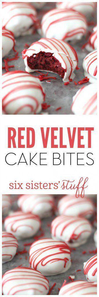 45 Valentines Desserts: Red Velvet Cake Bites
