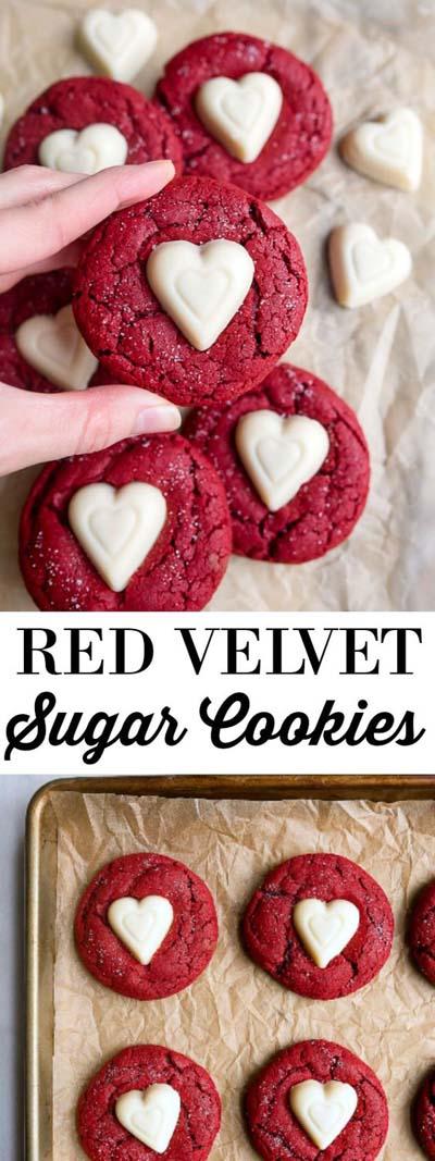 45 Valentines Desserts: Red Velvet Sugar Cookies