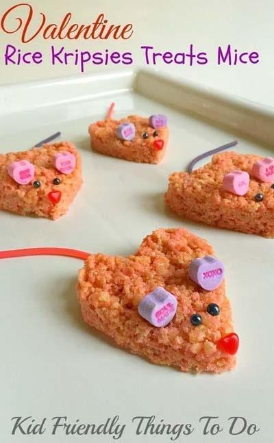 45 Valentinstag Desserts: Reis Krispies behandelt Mäuse