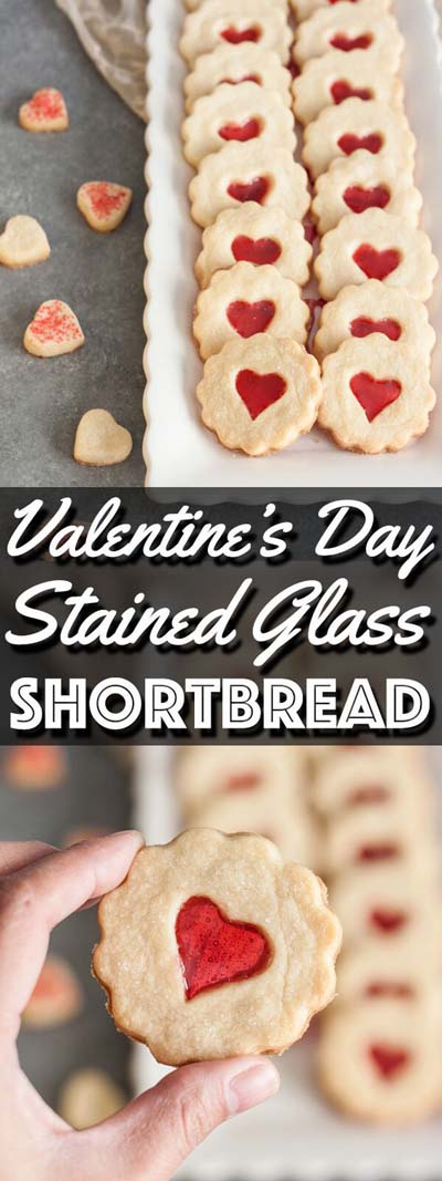 45 Valentines Desserts: Stained Glass Shortbread Cookies