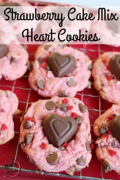 45 Valentines Desserts: Strawberry Chocolate Chip Heart Cookies