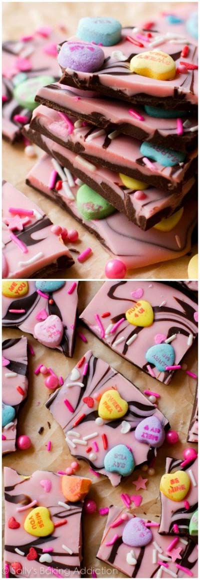 45 Valentines Desserts: Sweetheart Swirl Bark