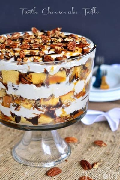 30 Christmas Trifle Recipes: Turtle Cheesecake Trifle