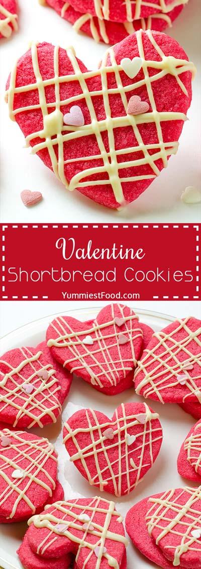 45 Valentinstag Desserts: Valentine Shortbread Cookies