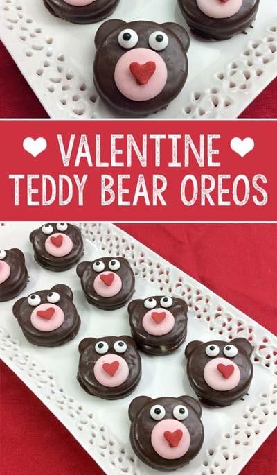 45 Valentinstag Desserts: Valentine Teddy Bear Oreos