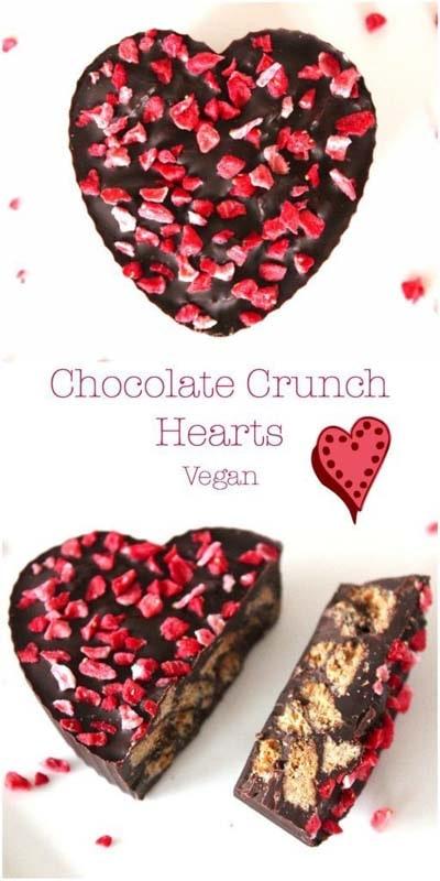 45 Valentines Desserts: Valentines Chocolate Crunch Hearts