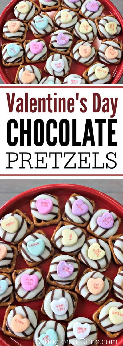 45 Valentines Desserts: Weiße Schokoladenbrezeln