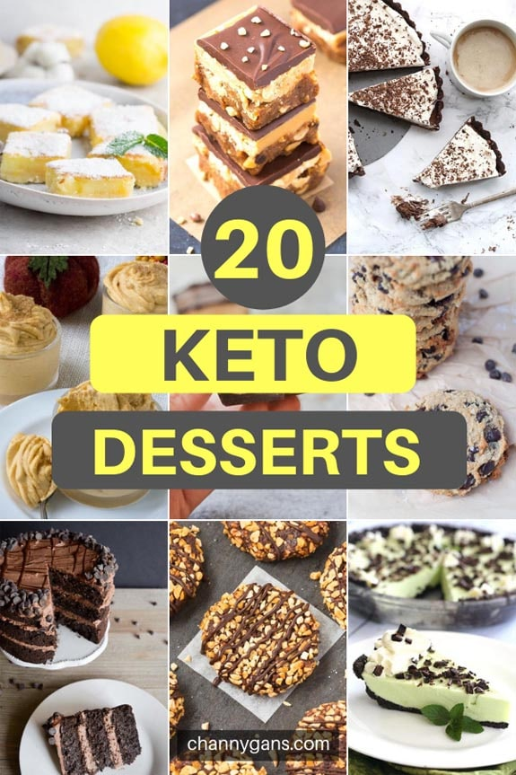 20 Keto Desserts. Just because you are following a keto diet does not mean you can't indulge once in a while. There are amazing keto desserts you can make to satisfy your sweet tooth.