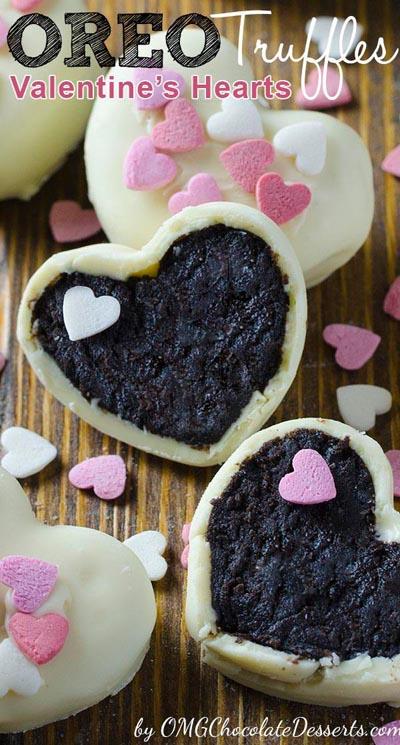 40 Valentine's Day Cookies: Oreo Truffles Valentine's Hearts