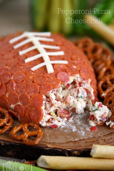 25 Super Bowl Snacks: Pepperoni Pizza Football Cheese Ball