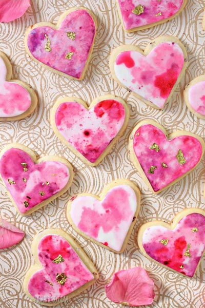 40 Valentine's Day Cookies: Watercolor Rose Sugar Cookies