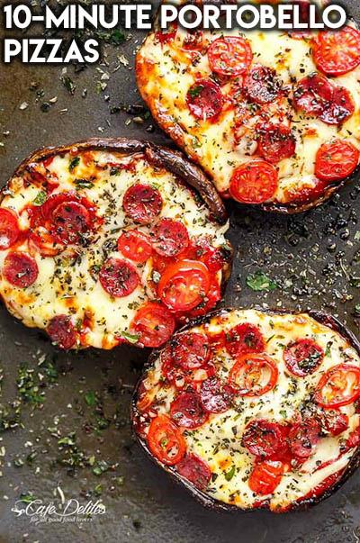 16 Keto Pizza Recipes: 10-Minute Portobello Pizzas