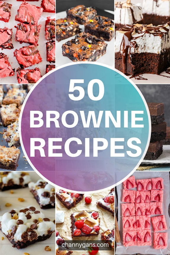 50 Brownie Recipes. If you are a brownie fanatic then you are going to love this! Who knew there where so many different types of brownie recipes out there? If you want to try some yummy and fun brownies, check out these brownie recipes!